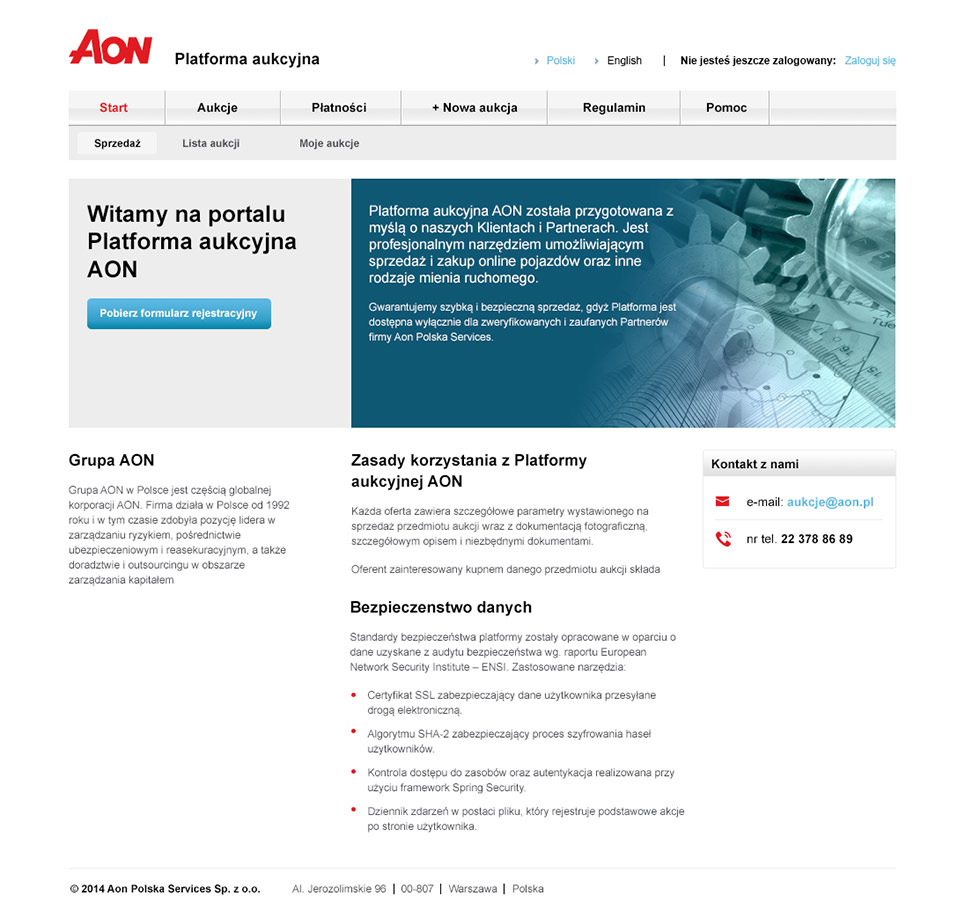 AON Services - platforma aukcyjna