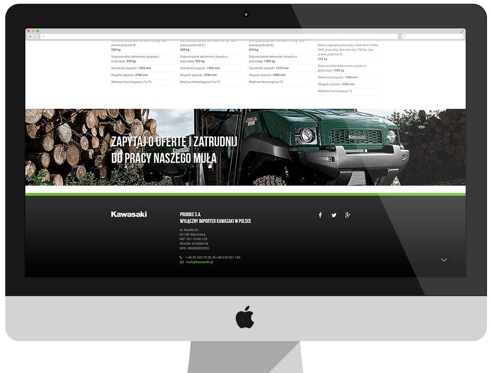 Kawasaki MULE - strona docelowa kampanii