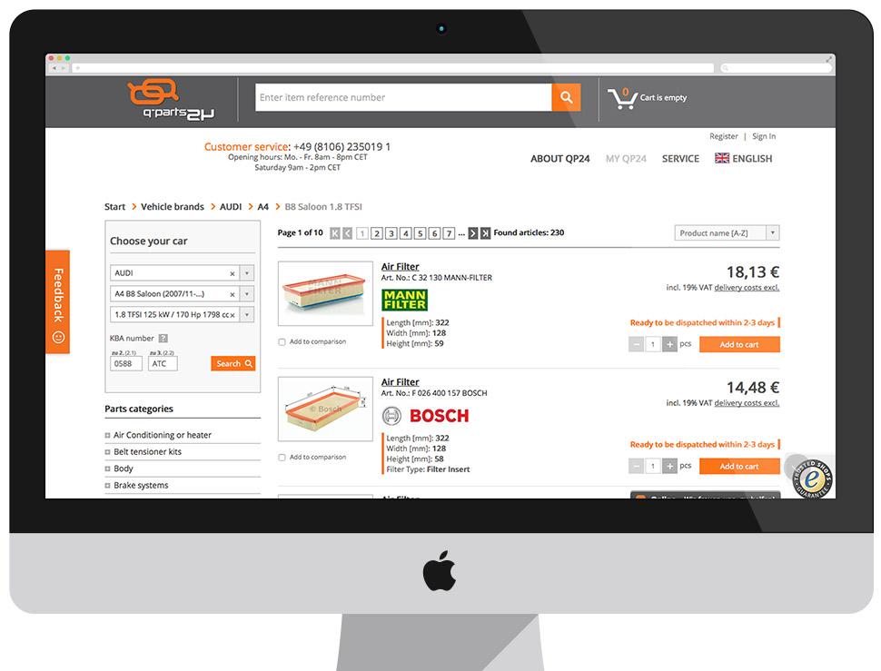 Qp24.de - sklep B2C z częściami zamiennymi
